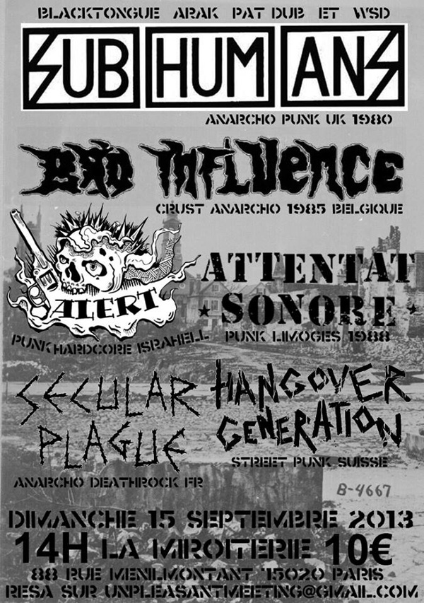 affiche The Subhumans, Bad Influence, Attentat sonore,